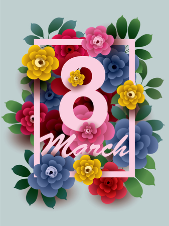 March 8. Happy Womens Day card with colorful flowers in the frame.