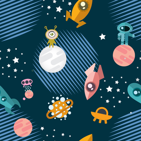 Space Seamless Pattern with planets, rockets, flying saucers, aliens, astronauts. Vector