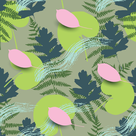 Spring seamless pattern with different leaves. Illustration