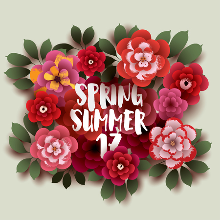 SPRING- SUMMER. Illustration with flowers and leaves. Design for your poster, banner, flyer. Vector.