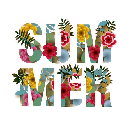 Summer. Flower letters. Vector inscription.