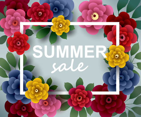 Summer SALE. Illustration with flowers and leaves. Design for your poster, banner, flyer. Vector.