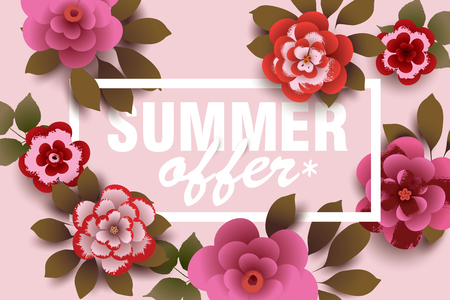Summer Offer. Composition with flowers and leaves. Design for your poster, banner, flyer. Vector.