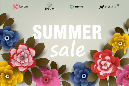 Summer SALE illustration with flowers and leaves. Design for your poster, banner, flyer. Vector.