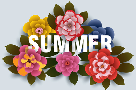 Summer Illustration with flowers and leaves. Design for your poster, banner, flyer. Vector.