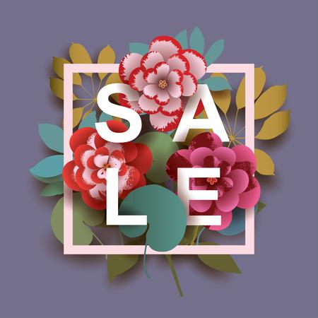 Summer Sale card with different floral elements. Design for Poster, Banner, Flyer. Vector illustration. Illusztráció
