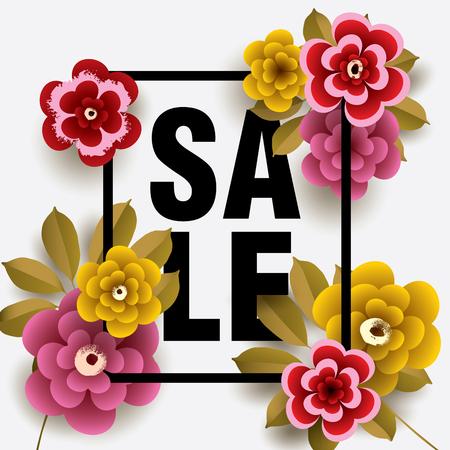 Summer Sale card with different floral elements. Design for Poster, Banner, Flyer. Vector illustration. Illustration