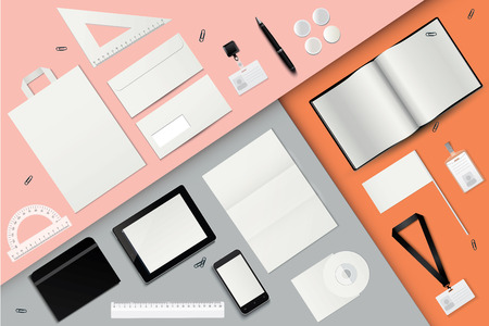 Corporate identity template set. Business stationery mock-up. Envelope, pen, gadgets, badge, notebook, set of rulers, package, paperclips, flag, lanyard. Stock Vector - 75868444