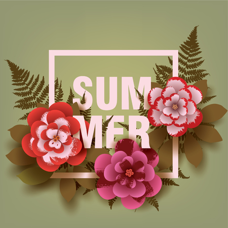 Summer. Illustration with flowers and leaves in the frame. Design for your poster, banner, flyer. Vector.