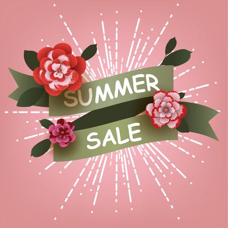 Summer Sale card with flowers elements. Design for Poster, Banner, Flyer. Vector illustration.