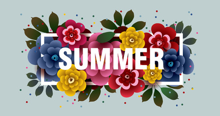 SUMMER. Composition with flowers and leaves in the frame. Design for your poster, banner, flyer. Vector.
