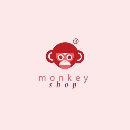 Monkey logo.Vector illustratie voor uw bedrijf. Stock Illustratie