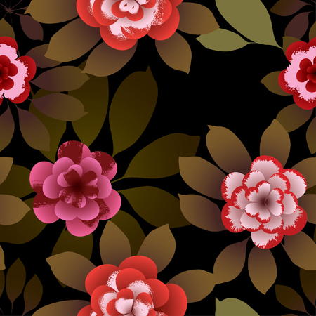 Tropical flowers. Vector seamless pattern. Illustration