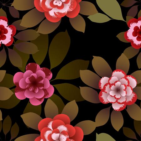Tropische bloemen. Vector naadloos patroon.