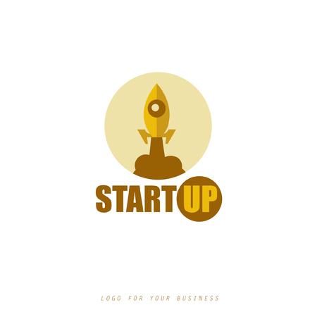 Logo voor uw startup bedrijf. Vector raket icoon.