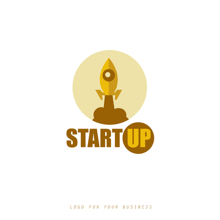 Logo for your startup company. Vector rocket icon.