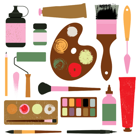 Set of art supplies. Brushes, paints, watercolor, ink, paint roller, palette and etc. Texture effect. Vector illustration.