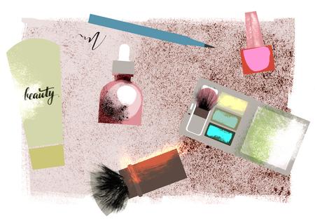 Beauty and makeup illustration. Brush, cream, serum, nail polish, eye shadow, liner. Texture effect.