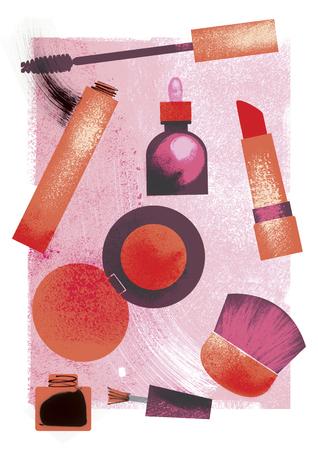 Schoonheid en make-up illustratie. Lippenstift, borstels, mascara, wei, bloos, nagellak. Textuur effect.