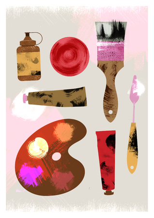 Illustration of art supplies: brush, palette knife, oil paints, ink, palette. Texture effect. Stock Photo