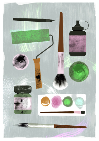 Illustration of art supplies. Brushes, paints, watercolor, ink, paint roller. Texture effect.