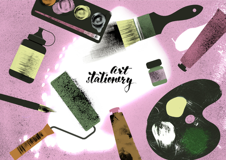 Illustration of art supplies. Brushes, paints, watercolor, ink, paint roller, palette. Texture effect. Hand drawn poster.