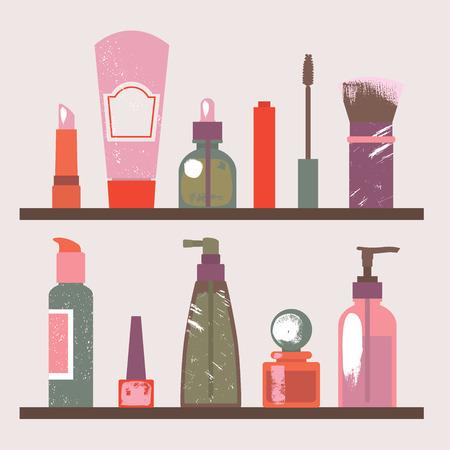 Illustratie van een plank met kosmetische artikelen. Vector illustratie