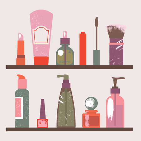 Illustration of a shelf with cosmetic items. Vector illustration