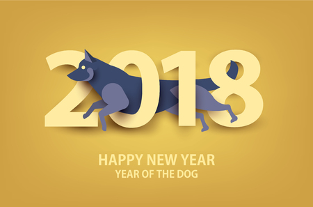 2018. Happy New Year. Year of the dog. Vector illustration. Paper cut style.