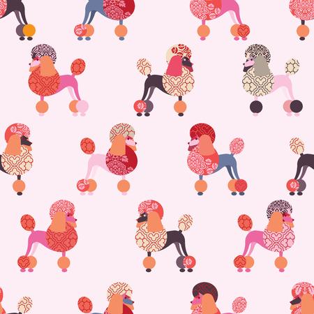 Een naadloos patroon met kleurrijke poedel. Vector ontwerp voor behang, stof, inpakpapier. Stock Illustratie