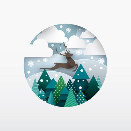 Illustration of deer. Winter landscape. Paper cut style. Illustration