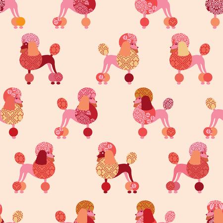 Naadloos patroon met poedels voor behang, inpakpapier of stof. Roze tinten. Stock Illustratie