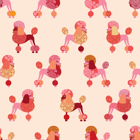 Seamless pattern with poodles for wallpaper, wrapping paper or fabric. Pink shades.