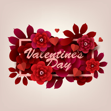 Happy Valentine`s Day Card. Inscription with flowers in a frame vector illustration Vettoriali