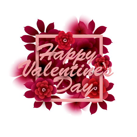 Happy Valentine`s Day Card. Inscription with flowers in a frame. Vector illustration