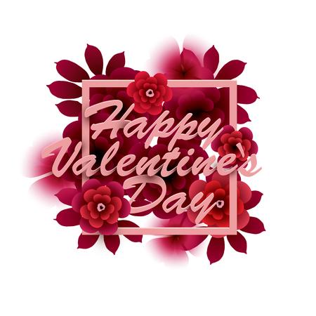 Happy Valentijnsdag kaart. Inscriptie met bloemen in een frame. Vector illustratie Stock Illustratie