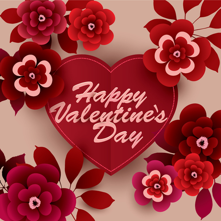 Happy Valentine's Day Card with flowers. Vector illustration in red shades.