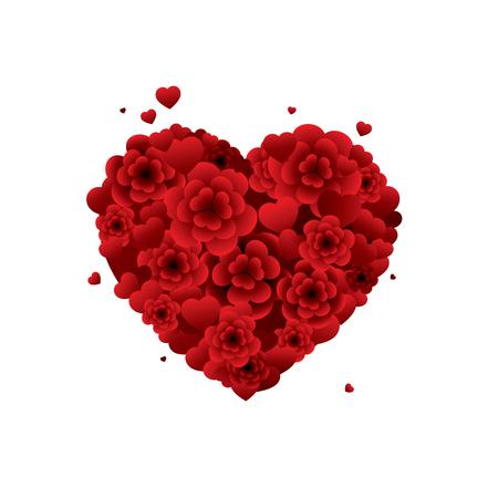 Boeket bloemen in de vorm van een hart.