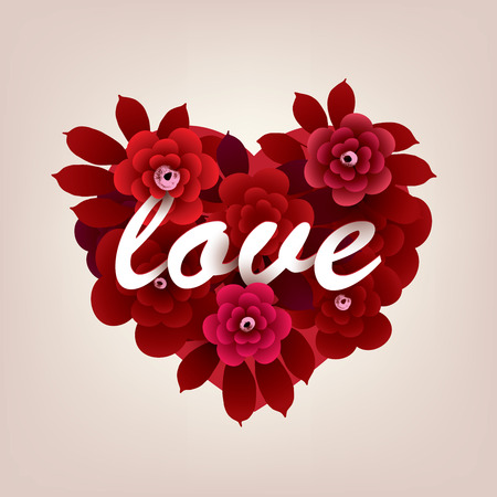 Bouquet of flowers in the shape of a heart with the inscription LOVE. Vector illustration in red shades
