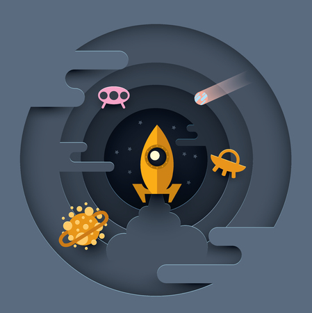 The rocket soars into space. Vector illustration. Paper cut style Ilustracja