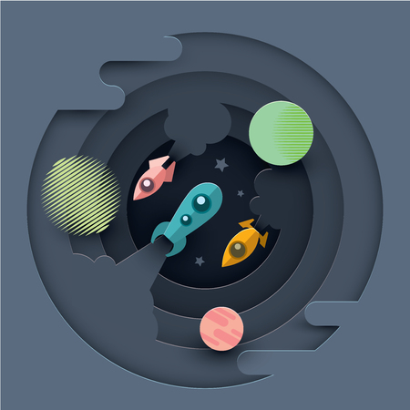 Three rockets soar into space on the background of planets. Vector illustration. Paper cut style.