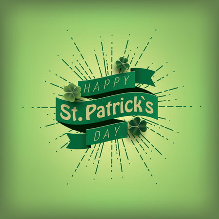 St. patricks day card. Green ribbon with text, clover and sunburst. Vector illustration