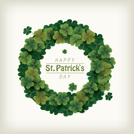Clover wreath for celebrating patrick's day. Colorful vector illustration.
