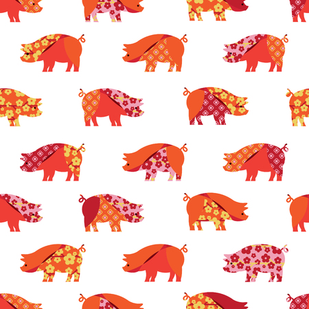 Seamless pattern with colorful pigs. Design for wallpaper, textile. Patchwork style.