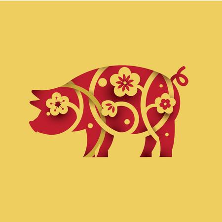 Cochon. Symbole de 2019. Style de papier découpé.
