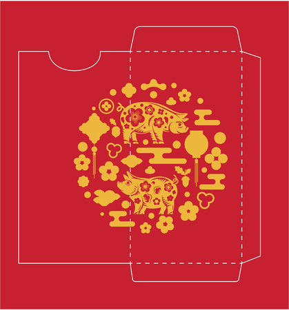 Chinese New Year Money Red Packet Pig (symbol of 2019) Die-cut. Illustration