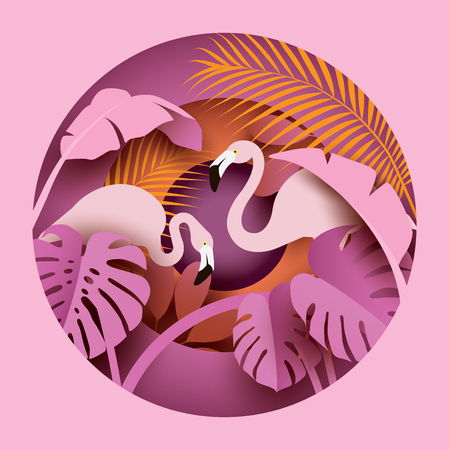 Two flamingos in tropical leaves. Paper cut style. Summer composition. Vector illustration