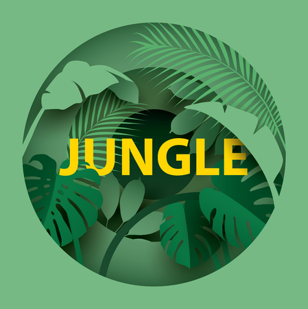 Tropical leaves. Paper cut style. Spring / Summer composition. Vector illustration