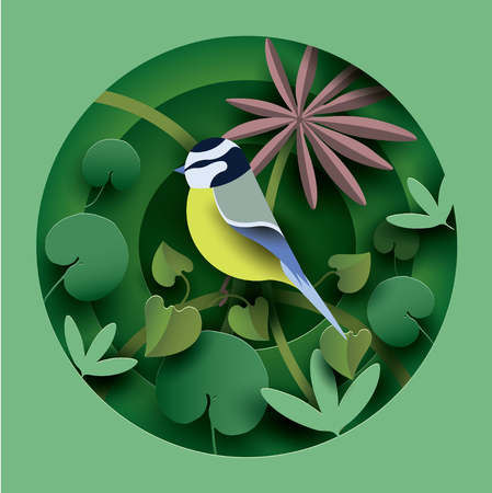 Bird in the thickets of plants. Paper cut style. Spring  Summer composition. Vector illustration Illustration