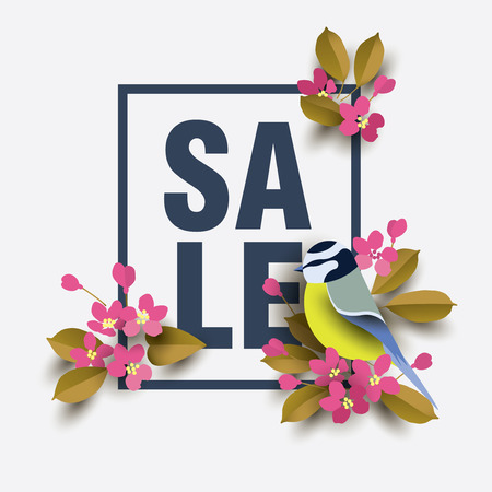 Spring Sale Sakura. Paper cut style. Vector illustration